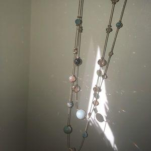 Long gold semiprecious necklace